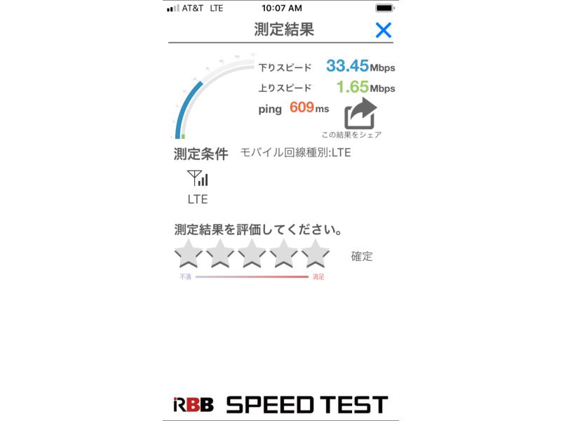 アメリカ版iPhone6で速度計測